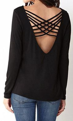 Black Strappy Back Top - Features Strappy Crisscross Back