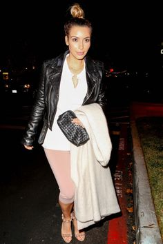 Kim Kardashian wearing Alaia Embellished Suede Sandals Bottega Veneta Nero Intrecciato Nappa Cosmetic Case Celine Fall 2013 Coat