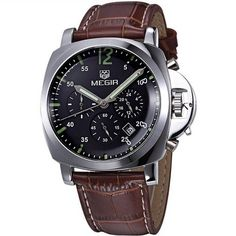cool Men's Leather Watch Chronograph Brown black - For Sale Check more at http://shipperscentral.com/wp/product/mens-leather-watch-chronograph-brown-black-for-sale/