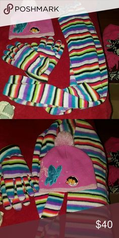 3 piece bundle new soft Dora women or girl Butterfly Dora hat and stripped gloves and scarf new set.  Some stuff I posted are name brand just have to re look at inventory to find right name brand fast postings Nickelodeon Accessories Hats