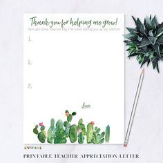 Teacher Appreciation Letter, Printable Thank You Gift for Teacher, Teacher Appreciation Week Printable, Cactus Theme, Gift for Teacher Instantly download and print this beautiful Teacher Appreciation Letter to give to your favorite teacher(s) for Teacher Appreciation Week or any time of the year.