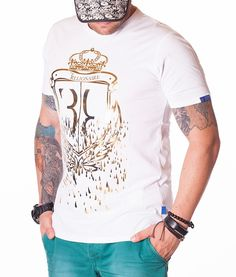 Billionaire Crown T-Shirt - White Color: White Crew neck collar Print Billionaire logo on the front Billionaire logo on the left sleeve Cotton Plain back. Neck T Shirt, Crew Neck, Designer Clothing, Sleeves, Cotton, Mens Tops, Shirts, Fashion, Templates