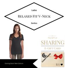 Ladies Relaxed Fit V-Neck Bamboo - 30% Organic Cotton 70% Bamboo - Affordable eco-friendly clothing shop mycharitywear.com/