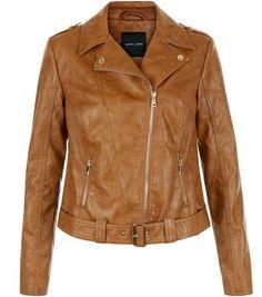Tan Leather-Look Biker Jacket  | New Look