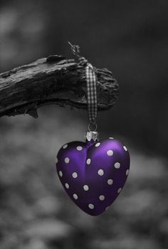 Purple Heart with White Dots Purple Love, All Things Purple, Shades Of Purple, Pink Purple, Heart Wallpaper, Love Wallpaper, Color Splash Photo, Purple Christmas, Purple Aesthetic