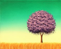Mid Century Modern Art Landscape Painting, Minimalist Art Tree Painting, Original Oil Painting on Canvas, Purple and Teal Wall Art,  8x10 by BingArt on Etsy