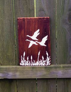 Rustic Flying Ducks Silhouette Wood Sign by RiverboatQueen on Etsy