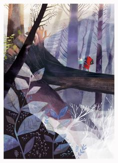 """A page from my upcoming children book """"Le Petit loup Rouge"""" (The little red wolf) ~( *V*)~"""