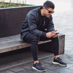 black joggers + a dope bomber jacket is a simple statement that's street ready.