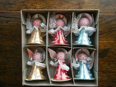 6 Vintage Shiny Brite Foil Chenille Angel Christmas Ornaments Bottle Brush Tree   eBay