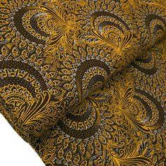 afrikanischer shweshwe Baumwollstoff braun gelb Ethnostoffe Flower Burst