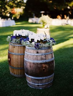 Creative idea for place cards using barrels.