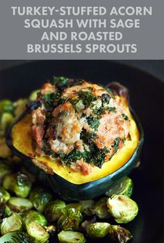 Turkey-Stuffed Acorn Squash with Sage and Roasted Brussels Sprouts