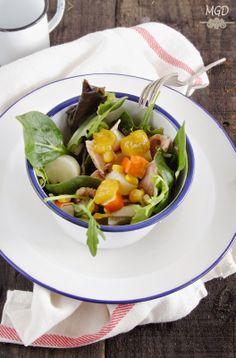 Ensalada de palmitos con chutney de mango