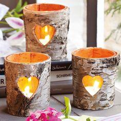 des photophores créatives en écorce de bois et bougies