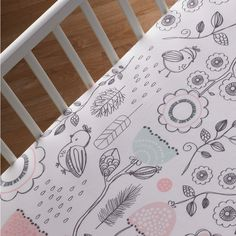 Features:  -Your little one will love how soft the fitted sheet feels. This crib fitted sheet has a Sketchy Bird print. Made with 100% cotton. Extra deep for secure fit..  -Sparrow collection.  -Color
