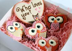 """""""Who Loves You""""  Valentine's Owl Cookies"""