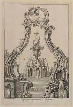 Print, Cartouche and Fountain with a Vase Resting on Three Sea Horses La Pieta, Esoteric Art, Baroque Art, Medieval, Vintage Drawing, Rococo Style, Architecture Drawings, Acanthus, Vintage Images