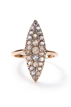 Labradorite Grande Navette Ring in 14k Rose Gold - anthropologie.com