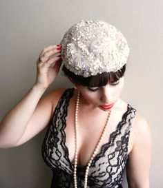 0606f88f575 Vintage White Sequin Hat - Elegant 1940s Accessory   Modern Miss