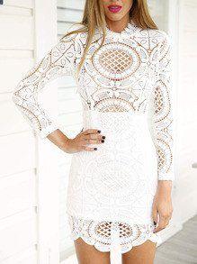 Description Season :Spring Pattern Type :Plain Sleeve Length :Long Sleeve Color :White Dresses Length :Short Style :Club Material :Lace Neckline :Round Neck Silhouette :Sheath Decoration :Lace Bust(cm