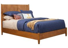 AmazonSmile: Flynn Mid Century Modern Queen Panel Bed in Acorn Finish: Home & Kitchen