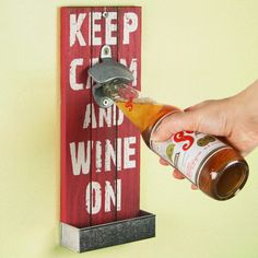 Mexican Style Wall Mounted Bottle Opener 30cm Keep Calm | Wooden Bottle Opener Cap Catcher Bottle Opener - Buy at drinkstuff