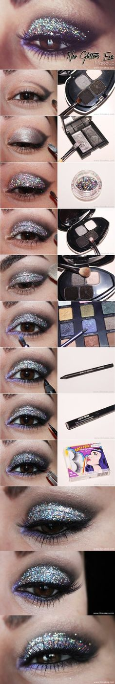 Glitter Evening Eye Makeup #purple #eyeshadow