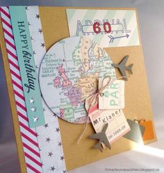 CharlieundPaulchen: birthday card for a frequent flyer, # for . - CharlieundPaulchen: birthday card for a frequent flyer, - Wedding Scrapbook, Travel Scrapbook, Diy Scrapbook, Diy Birthday, Birthday Cards, Birthday Flyer, Birthday Gifts For Bestfriends, Travel Gifts, Balloon Decorations