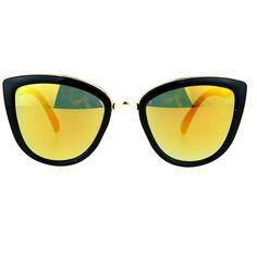 Amazon.com: SA106 Runway Fashion Metal Bridge Trim Oversized Cat Eye... (€8,35) ❤ liked on Polyvore featuring accessories, eyewear, sunglasses, over sized sunglasses, oversized glasses, cat-eye glasses, orange sunglasses and oversized cat eye glasses