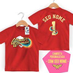 Camiseta Infantil Mulher Maravilha Logo Name