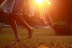 Happiness child running barefoot sunset photography shoes off