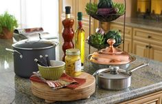 Counter top oils in a New Country styled kitchen.    Find out what type of home decor personality you have by taking our Stylescope quiz. Click here!