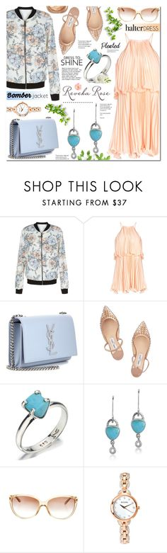 """(I've been copied)Floral Bomber Jacket & Pastel Pleated Halter Dress-Reveka Rose 6"" by anyasdesigns ❤ liked on Polyvore featuring New Look, Yves Saint Laurent, Jimmy Choo, Ralph Lauren and Bulova"