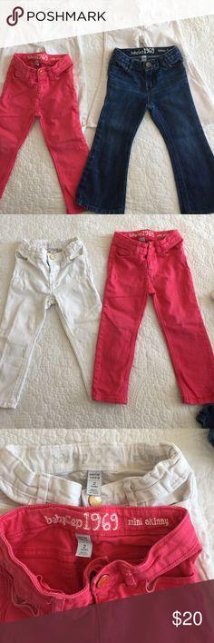 4 pairs GAP jeans size 2 4 pairs GAP jeans size 2. One white and hot pink jeans are mini skinny. The other white and jean color pants are favorite flare. All have adjustable waists! GAP Bottoms Jeans
