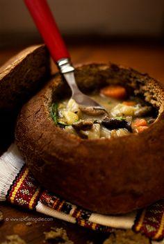 Czech Potato Soup served inside a bread bowl... Vegan