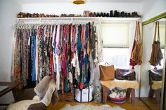 Gregory and Jenny's Relaxed Hippie Bungalow - Greatest Open Closet EVER - pratty dresses Dressing Room Closet, Wardrobe Closet, Closet Space, Dressing Rooms, Closet Office, Closet Wall, Wardrobe Capsule, Bungalow, Hippie House