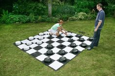 Giant outdoor checkers played on a durable x mat. Outdoor fun for all ages. Set out this giant game and keep your guests entertained at your party, event, or outdoor area. Garden Games, Backyard Games, Outdoor Games, Outdoor Fun, Outdoor Parties, Outdoor Checkers, Giant Checkers, Tailgate Games, Outside Games
