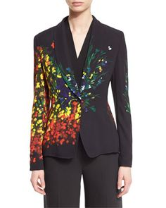 Floral-Print+One-Button+Jacket,+Multicolor+by+Escada+at+Neiman+Marcus.