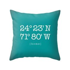 Personalized housewarming gift Custom home location pillow cover Teal personalized cushion Teal housewarming latitude and longitude teal - Latte Design - 1 Turquoise Cushions, Yellow Cushions, Typography Cushions, Personalized Housewarming Gifts, Mint Nursery, Personalised Cushions, Valentine Greeting Cards, Easy Sewing Projects, Customized Gifts