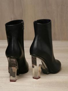 DRIES VAN NOTEN WOMEN'S PERSPEX HEEL LEATHER BOOTS @CO DE + / F_ORM
