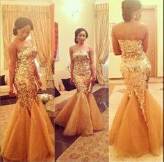 White and Gold Wedding. Gold Bridesmaid Dress. Elegant and Glamorous. Gold Aso Ebi. Sexy Gold Bridesmaid Look.