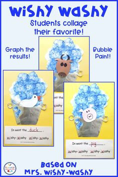 Do your students love Mrs. Wishy Washy? Here's an activity for kindergarten or preschool students to create their favorite animal from the book! Students will enjoy the bubble painting activity one day and use their bubbles to create their animals the next day! You can even graph the results and see which animal do most children like. Included are the recording sheets and all the directions for each animal. Grab this for a fun time! #MrsWishyWashy #bubblepainting