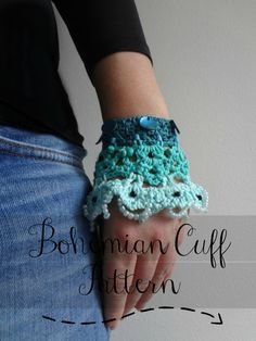 Crocheted Bohemian Cuff PDF Crochet Pattern - crocheted bracelet,crocheted accessory,crocheted lace, a photo tutorial, download
