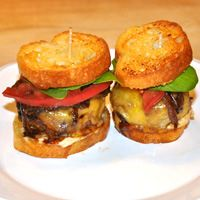 Gourmet sliders made with top sirloin, caramelized onion, mushrooms and sharp cheddar from Mitchella Vineyard & Winery.