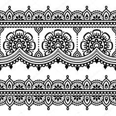 Downloaden - Mehndi, Indische Henna tatoeage naadloze patroon — Stockillustratie #72597917