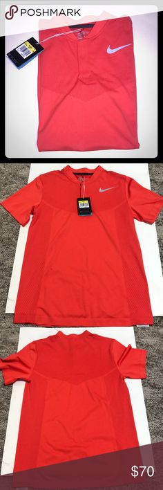 Men's Nike GOLF shirt New with tags, size small, button snaps at collar, Nike golf standard fit dri-fit, burnt Orange color Nike Shirts