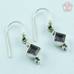 SilvexImages 925 Sterling Silver Amethyst Stone Light Earrings 5128 #SilvexImagesIndiaPvtLtd #DropDangle