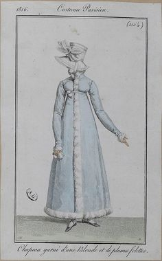 "1816 Costumes Parisien. Hat trimmed with blonde (lace) and feathers ""folettes"" (in the shape of leaves??)."