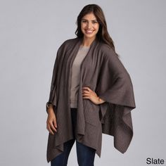 Taleen Knitted Poncho Cape Shawl Wrap with Pockets.